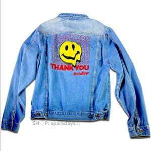 """""""Thank you for Nothing"""" Smiley Face Denim Jacket M"""
